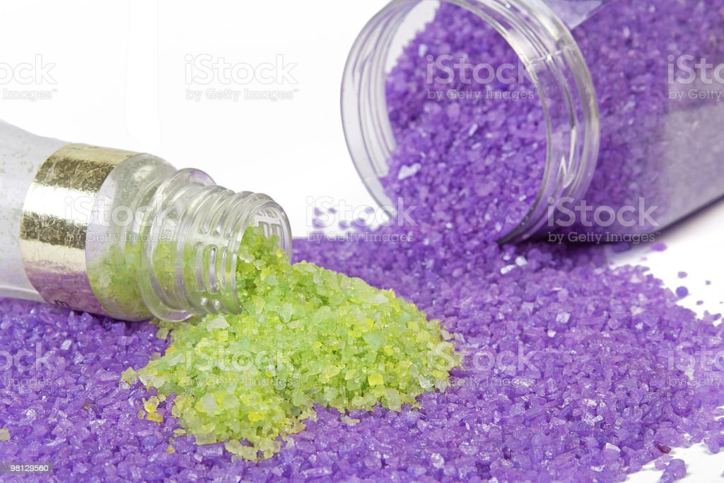 Lavender and green tea sea salt in jars royalty-free stock photo