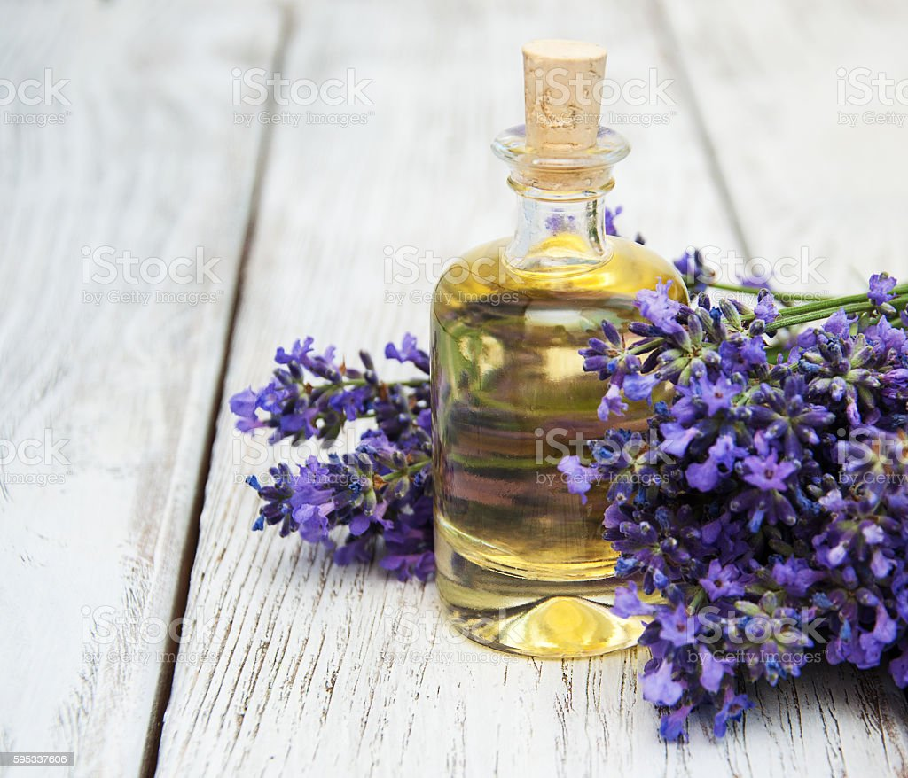 Lavender and massage oil stock photo