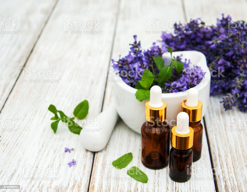 Lavender and massage oils stock photo