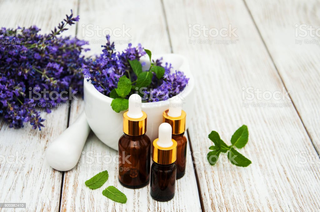 Lavender and massage oils royalty-free stock photo