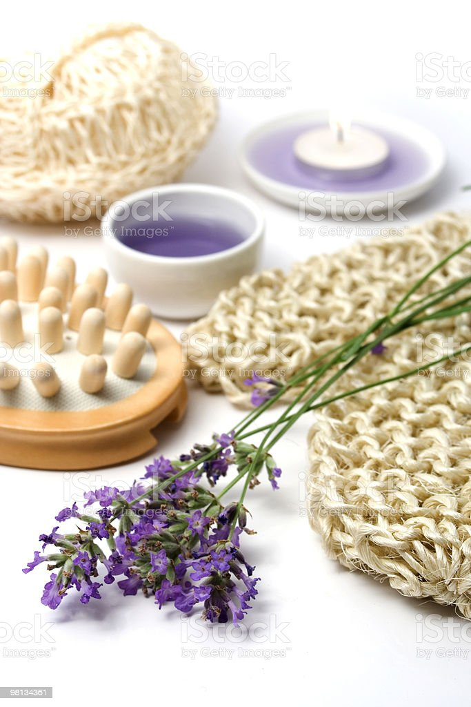 Lavender and spa massage set royalty-free stock photo
