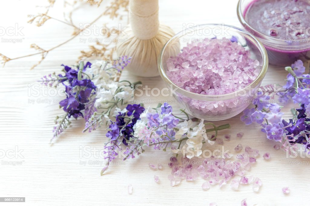 Lavender aromatherapy Spa with candle.  Thai Spa relax Treatments and massage white background.  Healthy Concept. select and soft focus - Royalty-free Adult Stock Photo