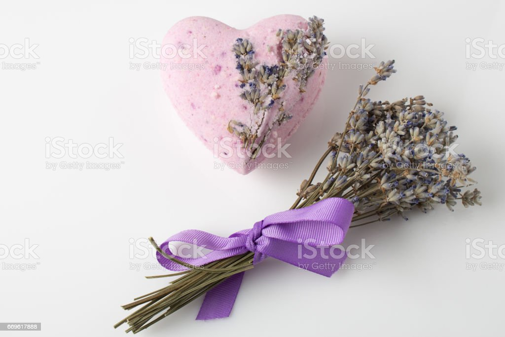 Lavender Bath bombs on a white background stock photo