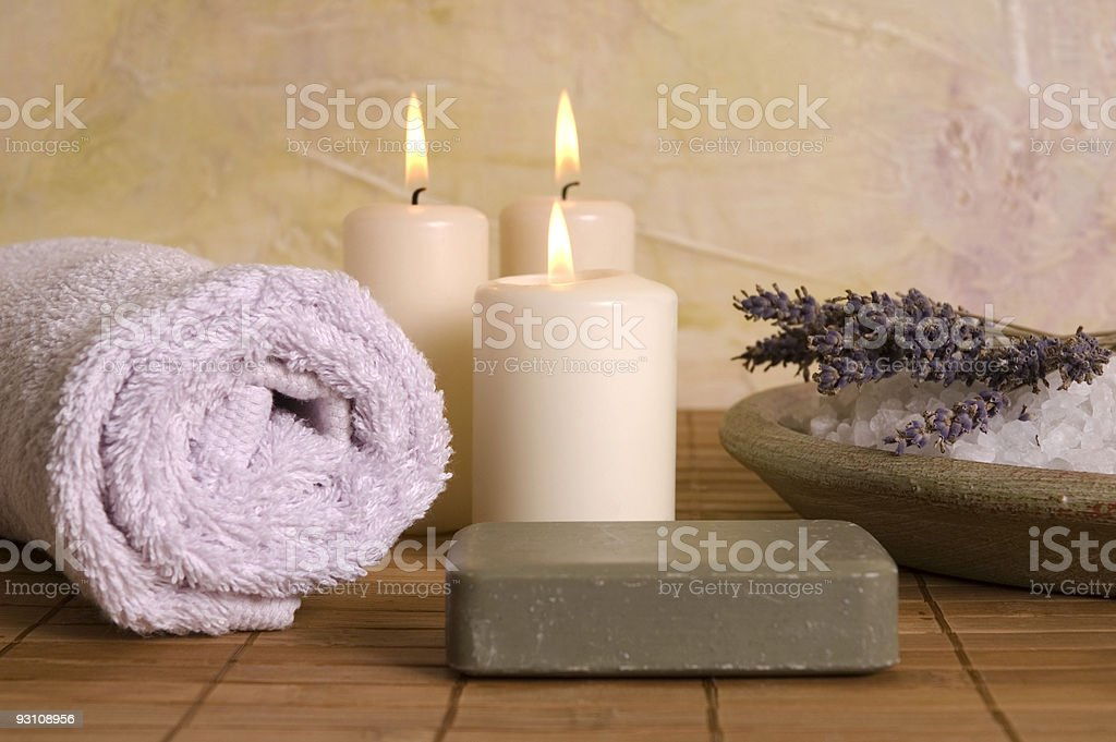 lavender bath items. aromatherapy royalty-free stock photo