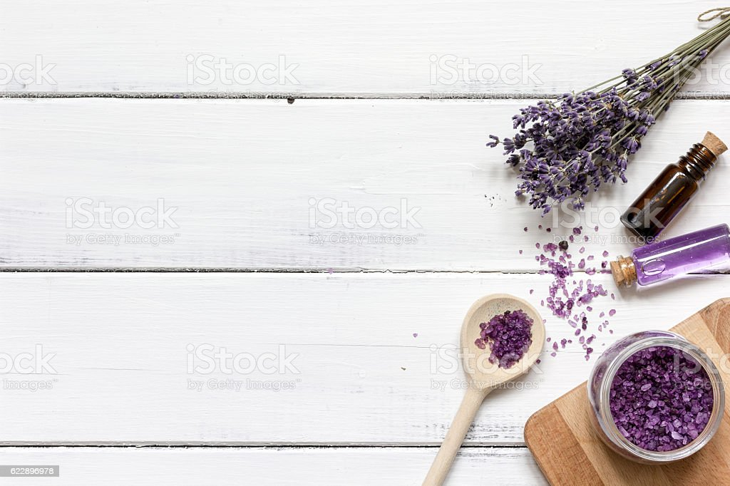 lavender bath salt on wooden table top view stock photo