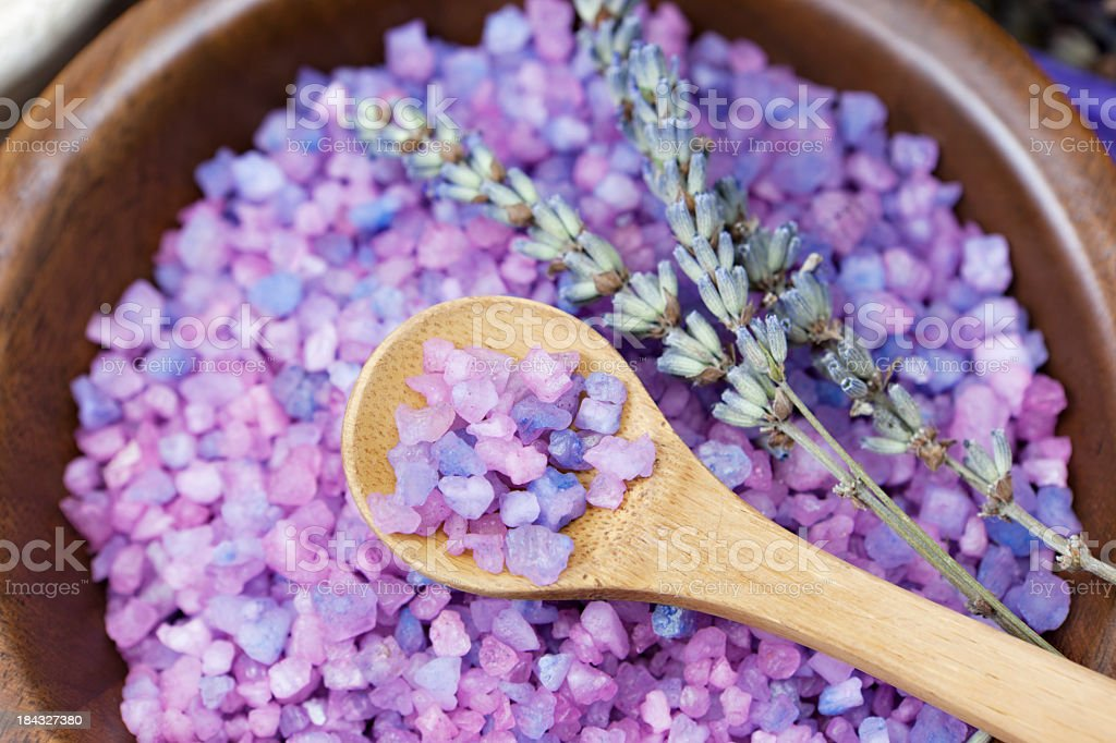 Lavender bath salt stock photo