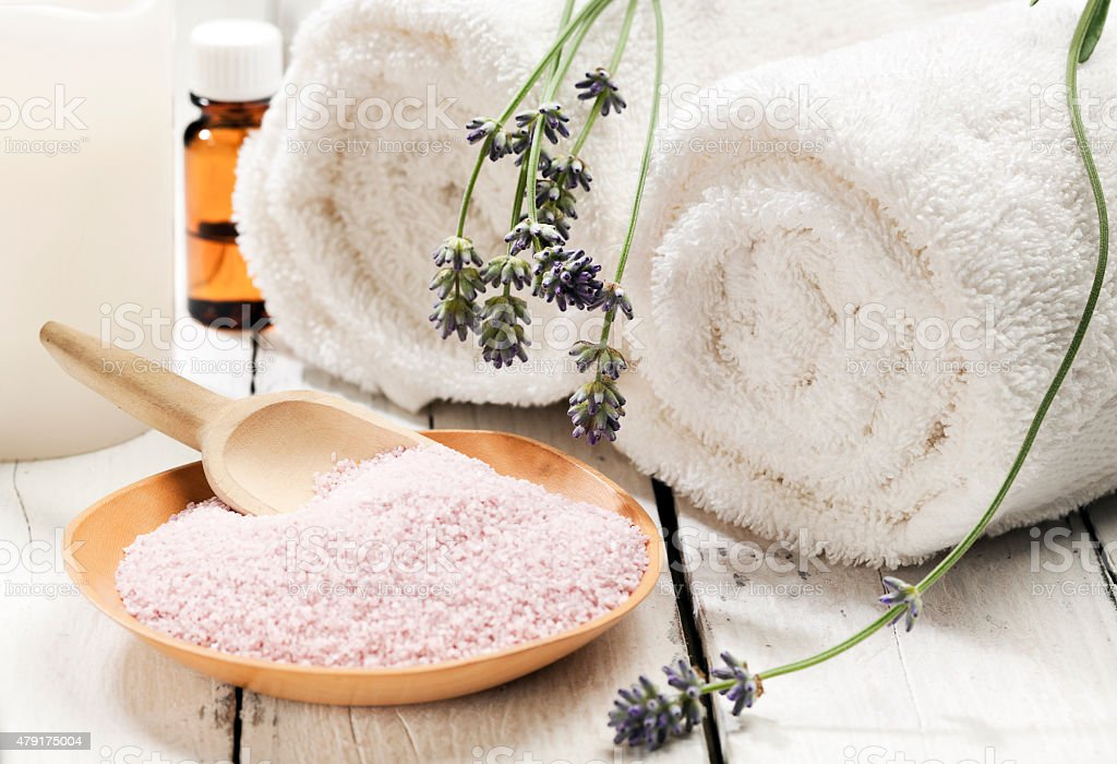 Lavender bath salt spa still-life stock photo