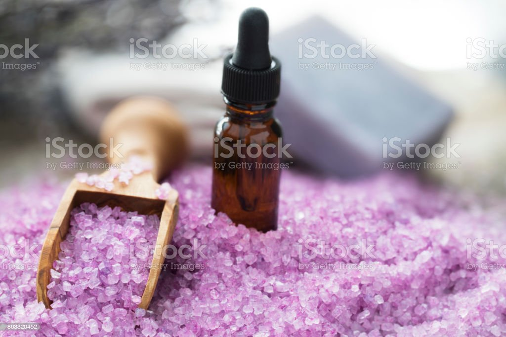 Lavender Bath Salts and Oils stock photo