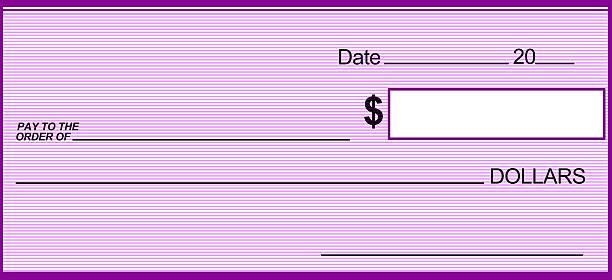 Lavender Blank Prize Check stock photo