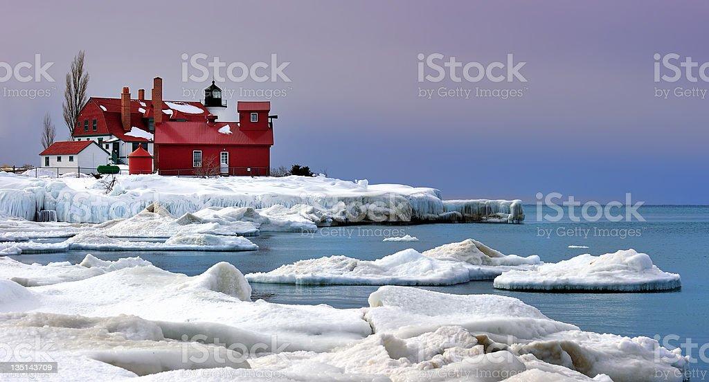 lavender Dawn , Point Betsie Lighthouse in Winter stock photo