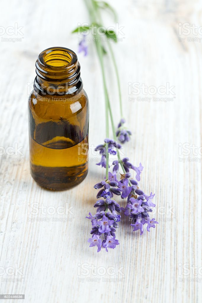 lavender essential oil on wooden surface stock photo