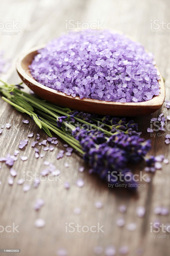 lavender flower bath salt royalty-free stock photo