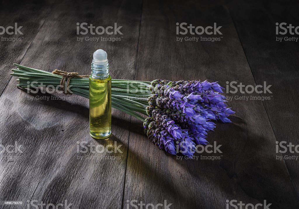 lavender flowers and essential oil stock photo
