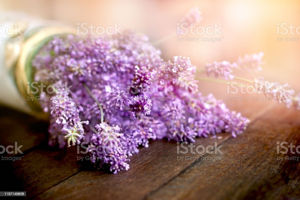 Lavender Flowers In Vase On Rustic Table Beautiful Bouquet Of Flowers Stock Photo Download Image Now Istock