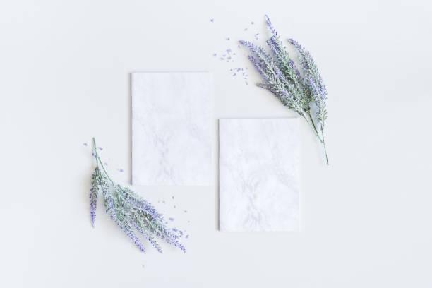 lavendel blommor, marmor papper tomma. platt lekmanna, top view - flower bouquet blue and white bildbanksfoton och bilder
