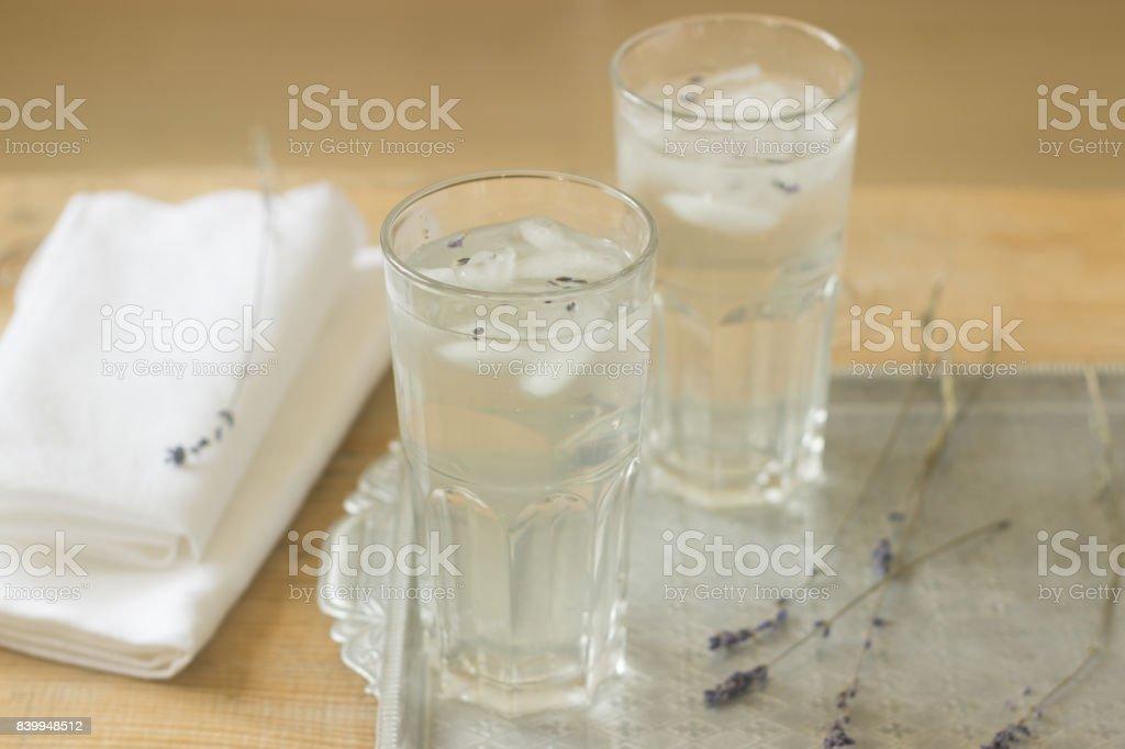 Lavender lemonade, rustic style, selective focus. stock photo