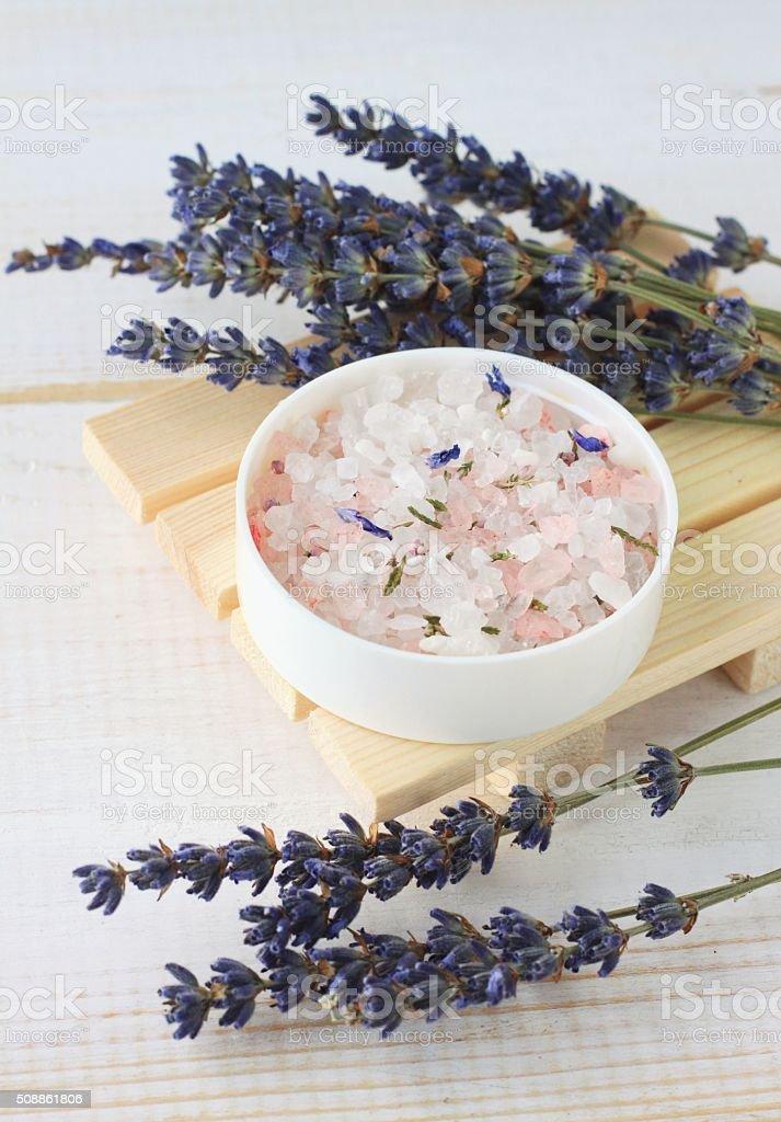 Lavender mineral bath salts stock photo