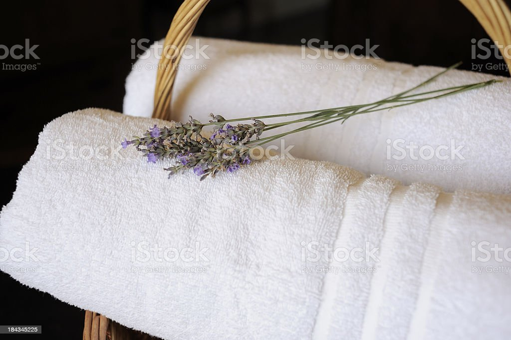 Lavender on Fresh White Towels royalty-free stock photo