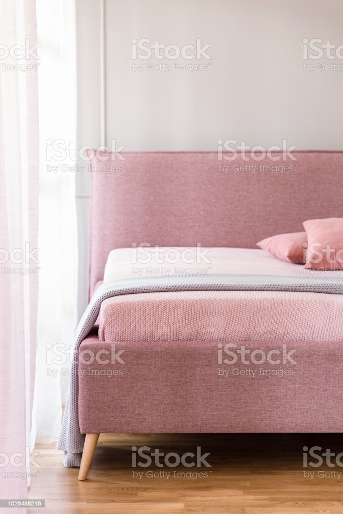 Lavender Purple Blanket On A Pink Bed With Upholstered Headboard In A Beige Bedroom Interior With Natural Light Stock Photo Download Image Now Istock