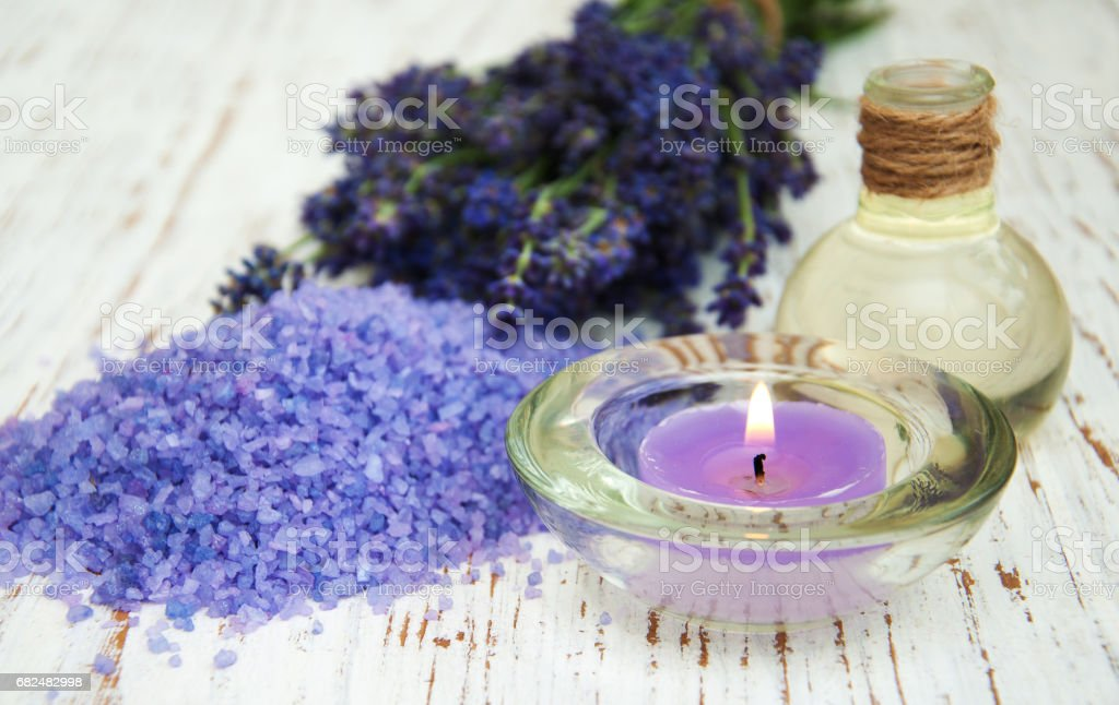 Lavender, sea salt and candle royalty-free stock photo