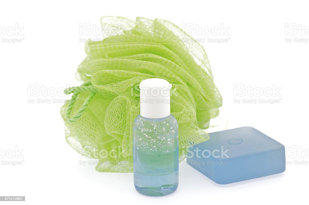 Lavender shower gel with scrub and Puff royalty-free stock photo