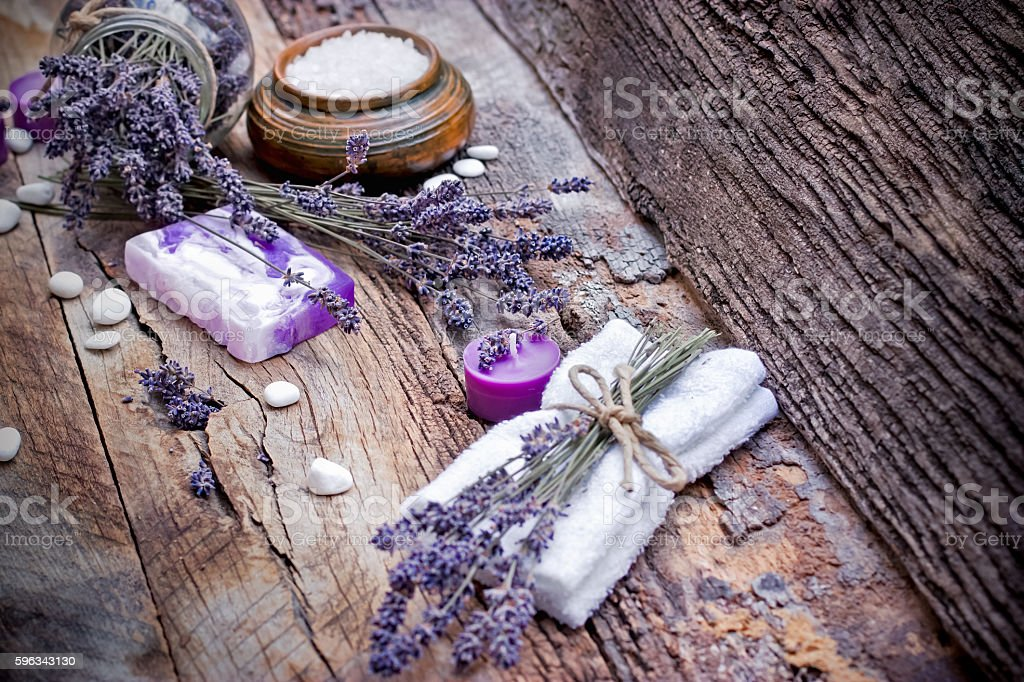 Lavender soap, scented salt and spa stones royalty-free stock photo
