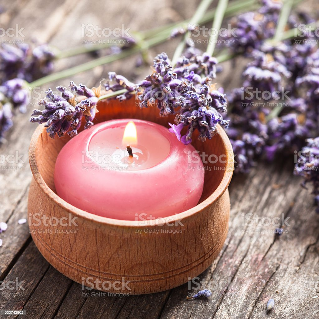 Lavender spa candle stock photo