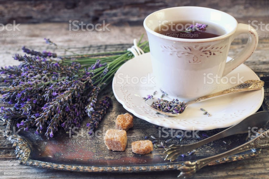 Lavender tea and bunch of lavender stock photo