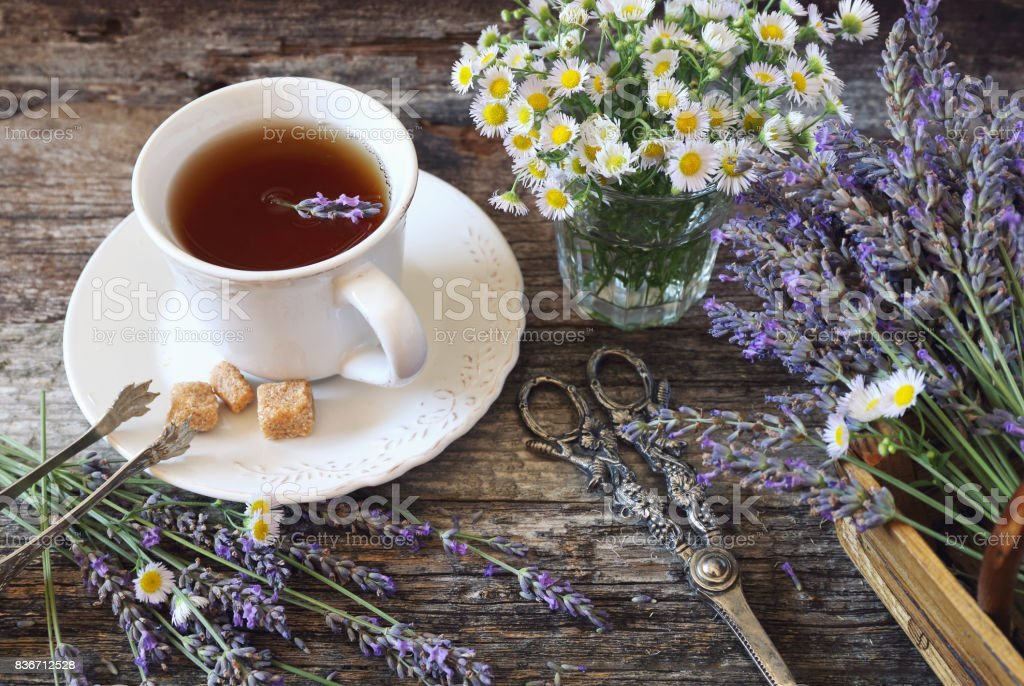Lavender tea, fresh lavender and wild chamomile, rustic style stock photo