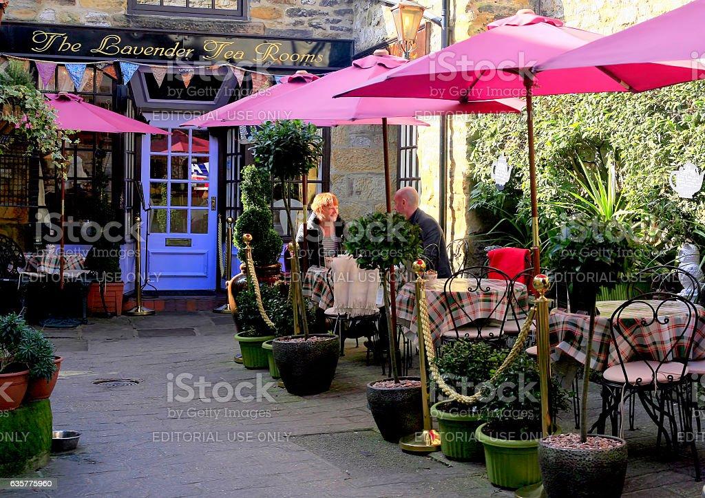 Lavender tea rooms. stock photo