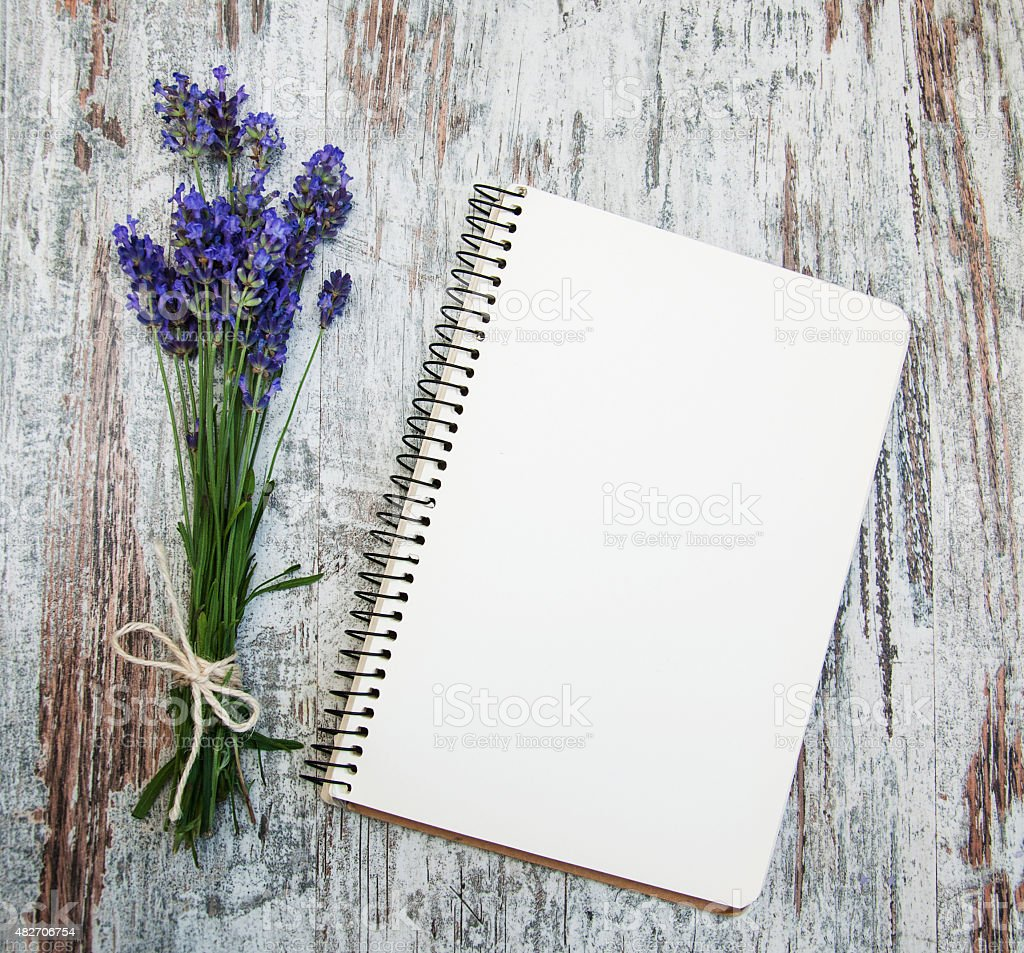 Lavender with notebook stock photo