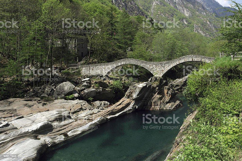 Lavertezzo bridge royalty-free stock photo
