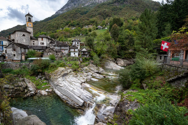 Lavertezzo in the Verzasca Valley of the Swiss canton of Ticino. stock photo