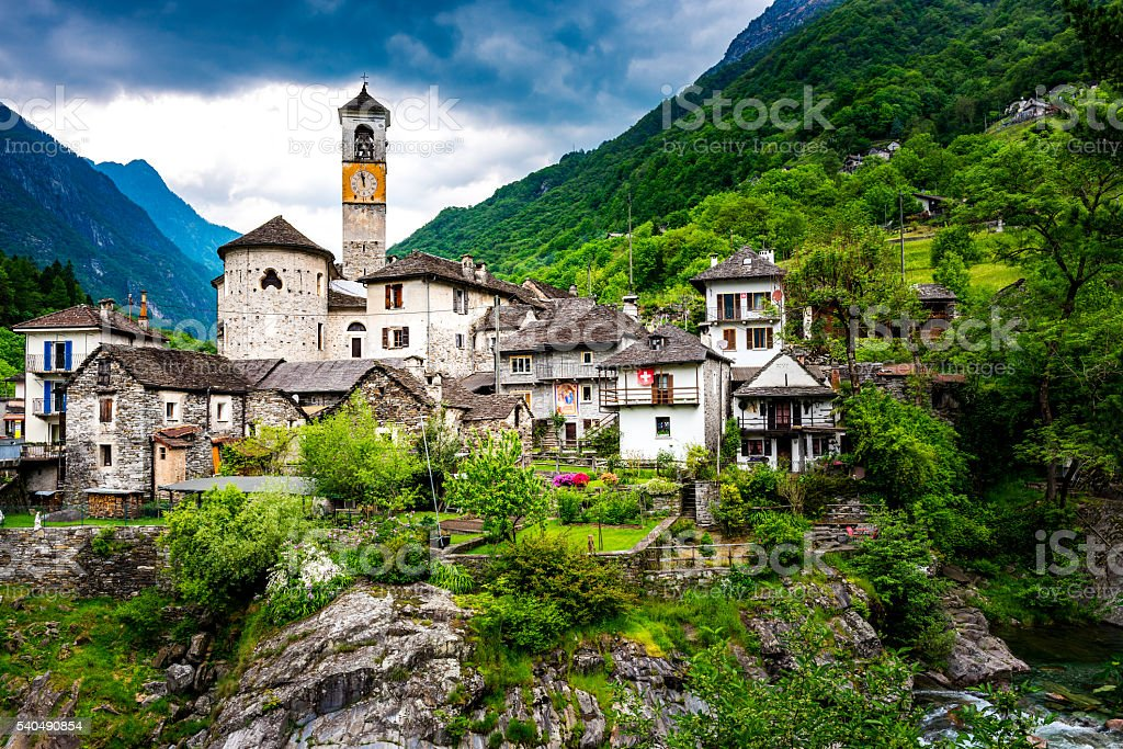 Lavertezzo in valley verzasca in Switzerland stock photo