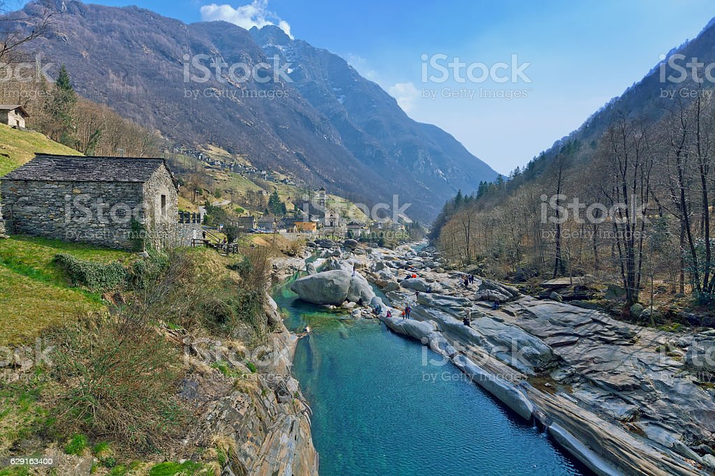 Lavertezzo village in Verzasca valley, Swtzerland stock photo