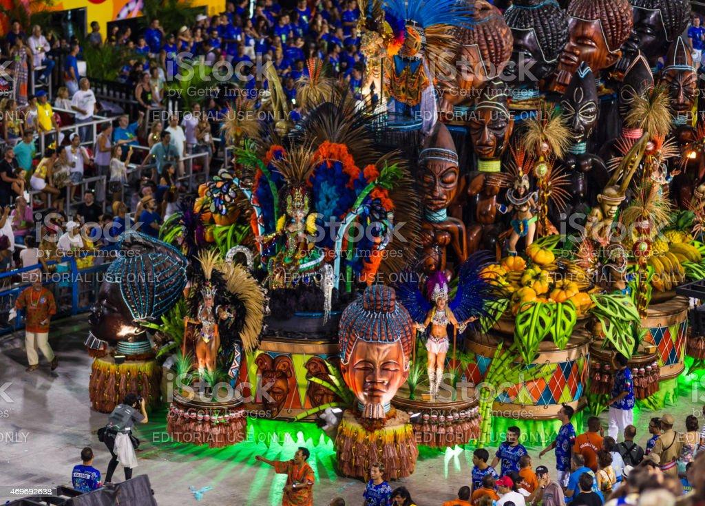 Lavishly Decorated Parade Float in Sambadromo, Rio de Janeiro, Brazil stock photo