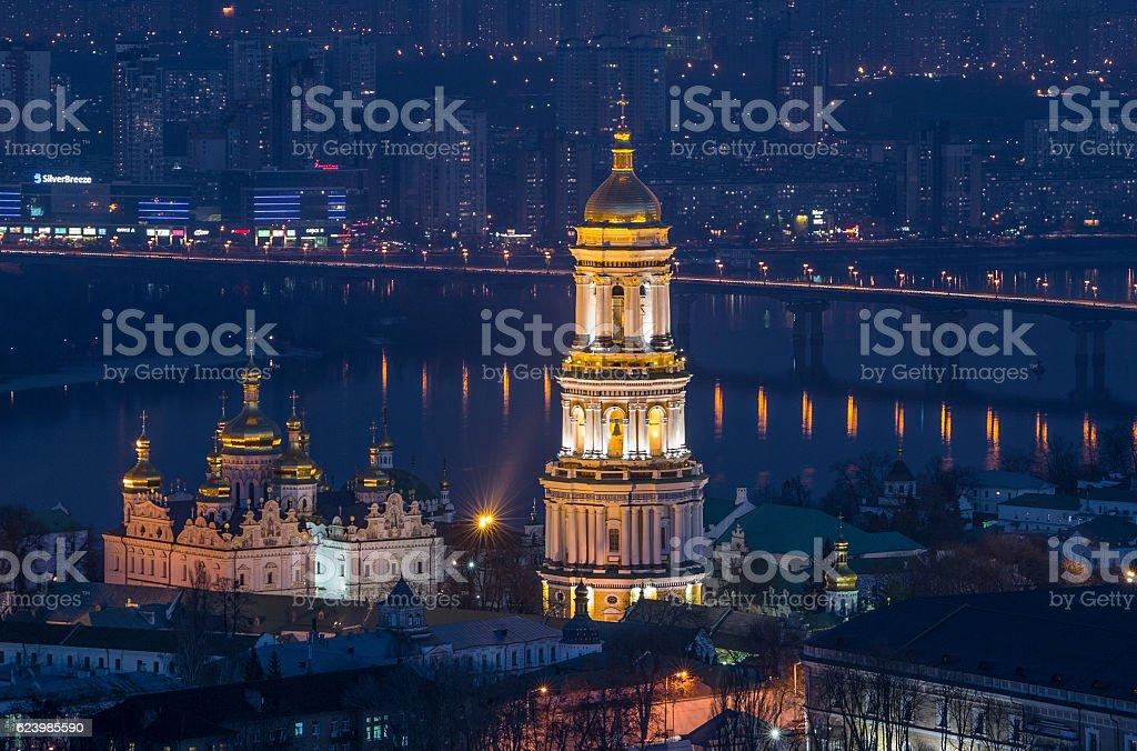 Lavra's bell tower at night. Kyiv, Ukraine stock photo