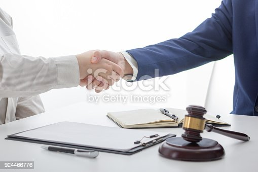 istock Law, advice and Legal services concept. Lawyer and attorney having team meeting at law firm. 924466776