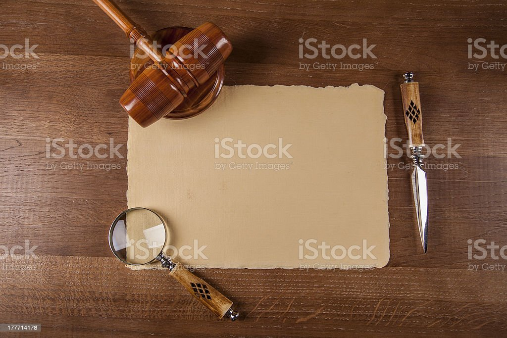 Law and justice composition with dark background royalty-free stock photo