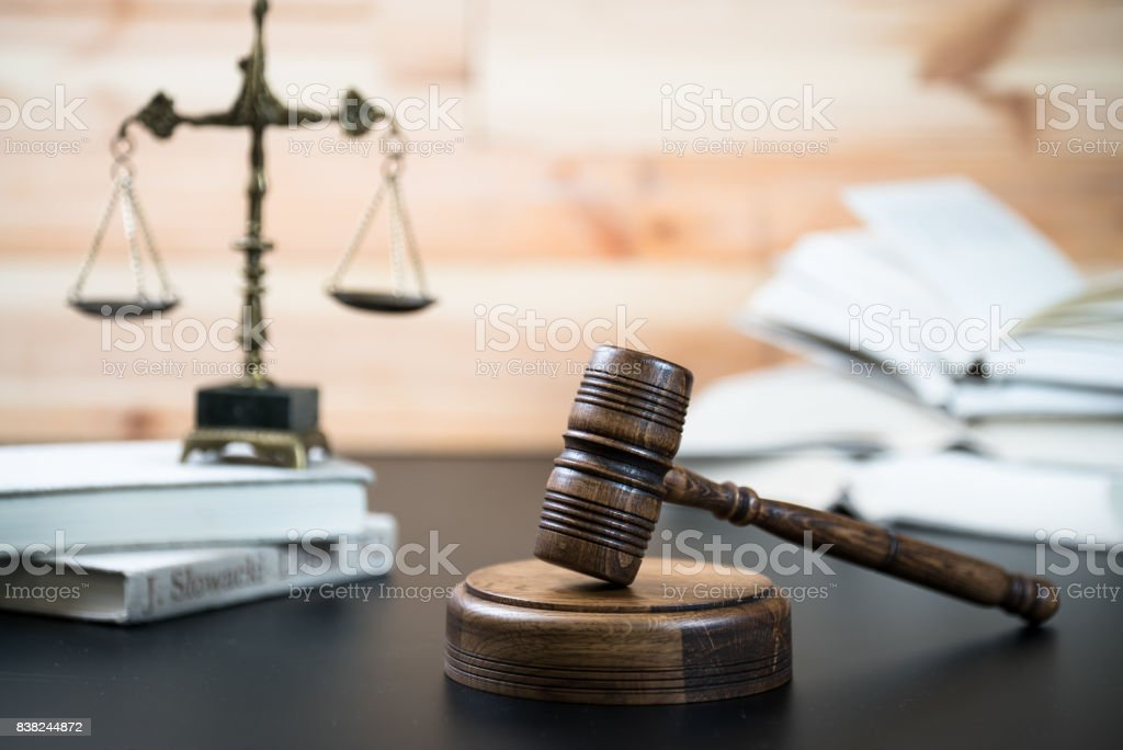 Law and Justice concept. Courtroom theme. stock photo