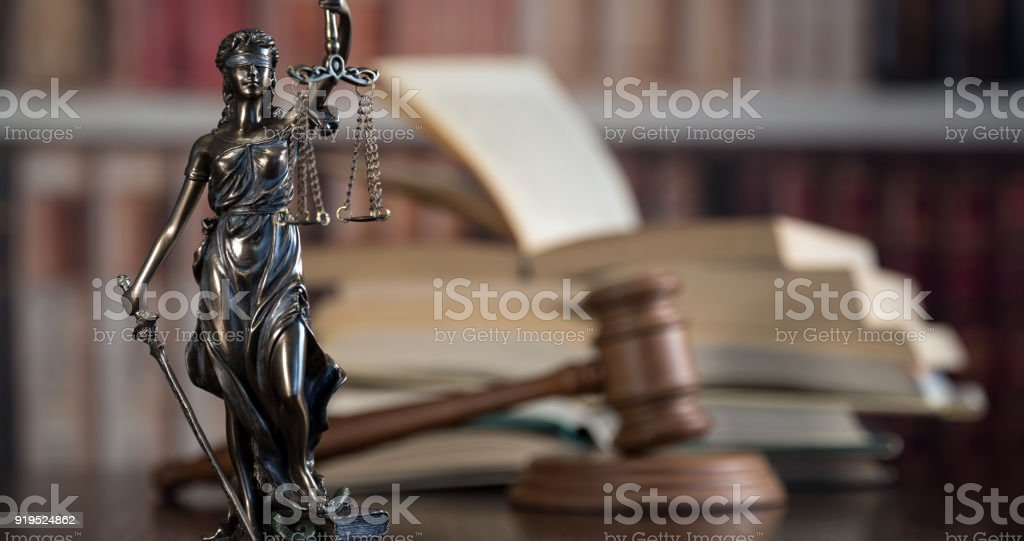 Law and Justice concept. Old Library stock photo