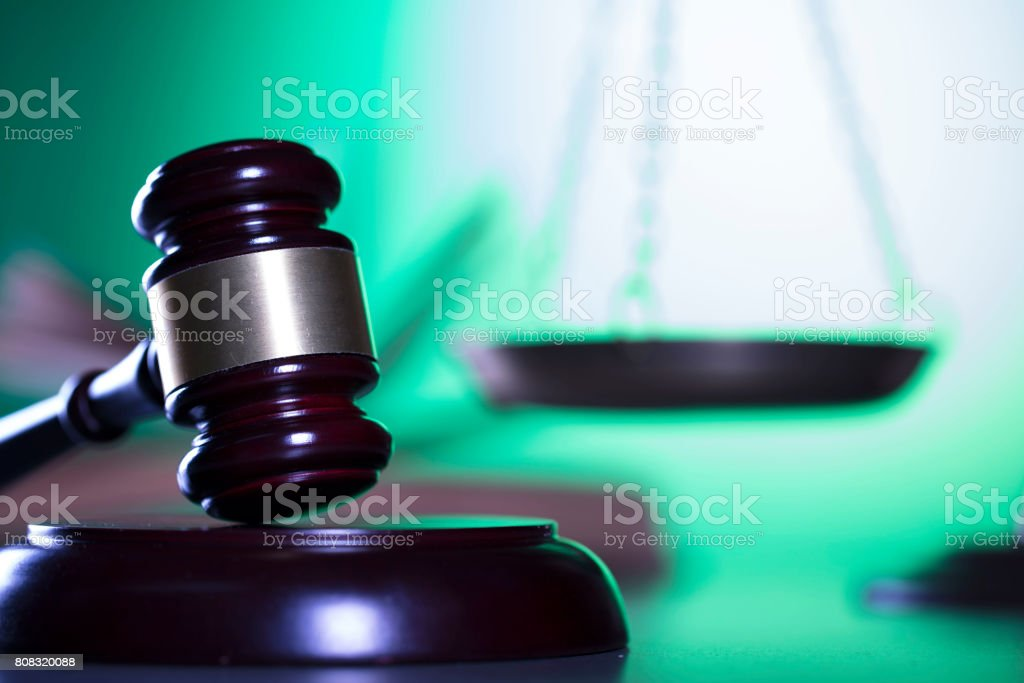 Law and justice, gavel stock photo