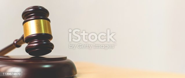 Law and Justice, Legality concept, Judge Gavel on a wood table with background space for your text
