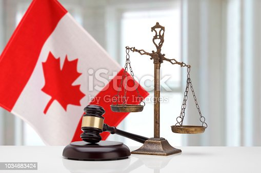 Gavel And Scales Of Justice and  National flag