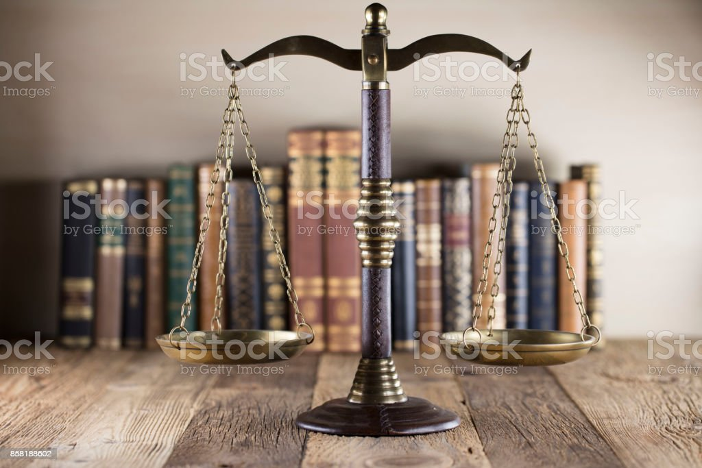 Law and justice symbols stock photo