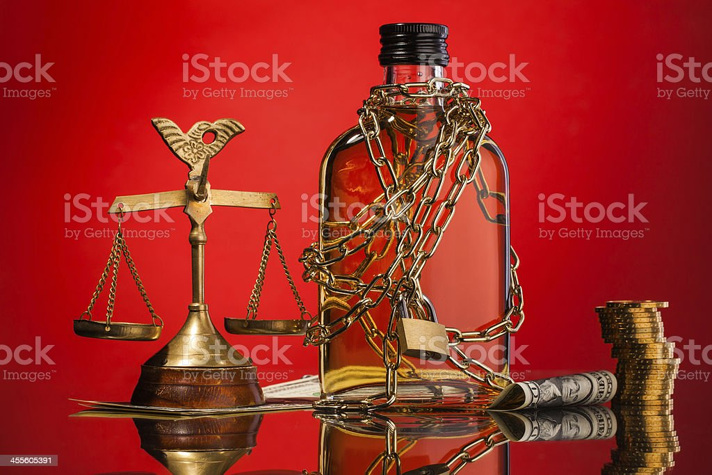 law and whisky addiction stock photo