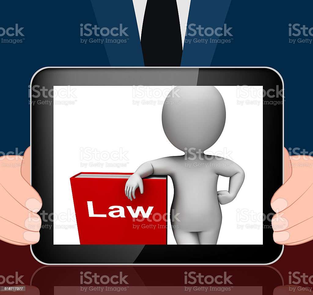 Law Book And Character Displays Books About Legal Justice stock photo