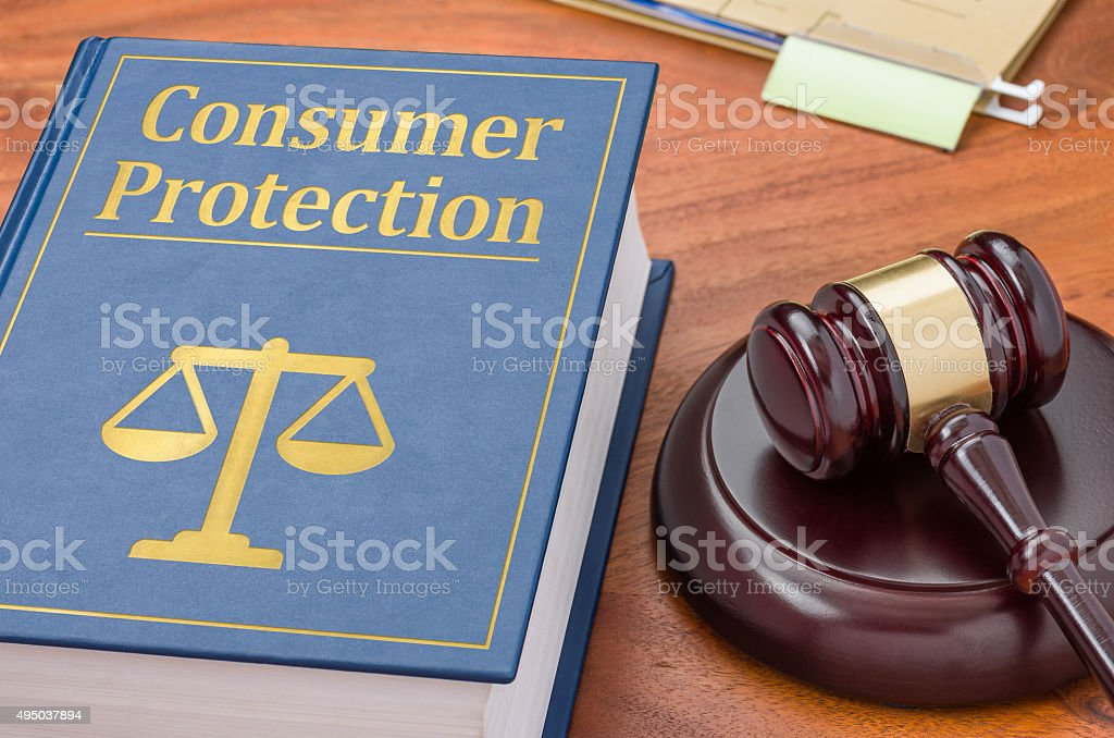 Law book with a gavel - Consumer Protection stock photo