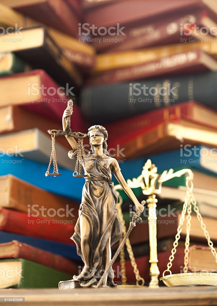Law concept, statue and books stock photo