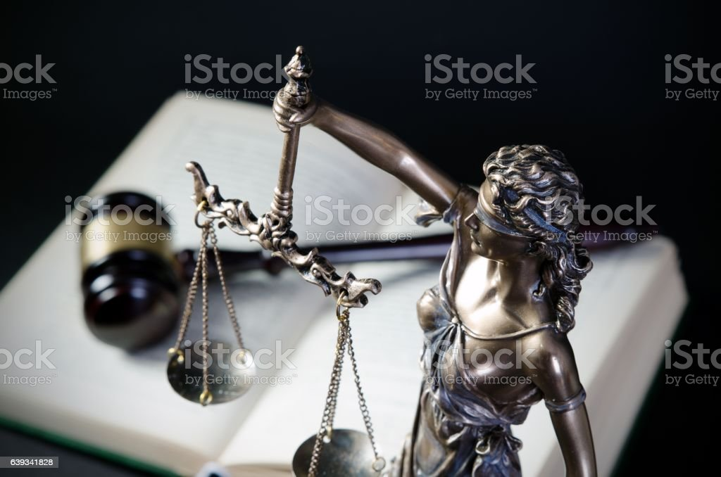 Law concept with Themis, symbol of justice stock photo